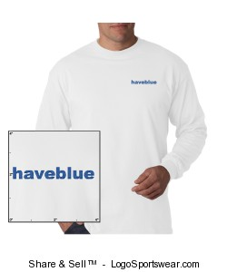 white long-sleeve t-shirt with blue logo Design Zoom