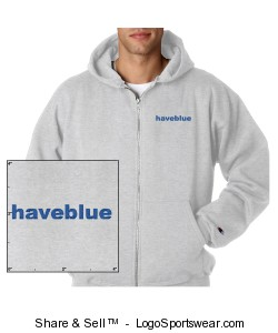 Zippered sweat with blue logo Design Zoom